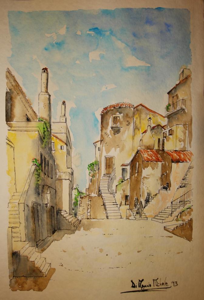 """""""La Torre della Cinta muraria - Sec. XIV"""" centro storico - Vico del Gargano (FG) (Collezione Privata - Seregno (MB))"""